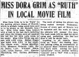 Miss Dora Grim as Ruth in local movie film
