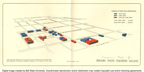 1956 Campus Map Of Indiana State Teachers College Ball