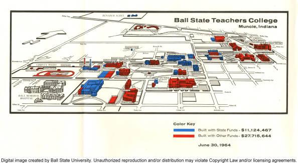 1964 Ball State Teachers College Muncie Indiana Map Ball