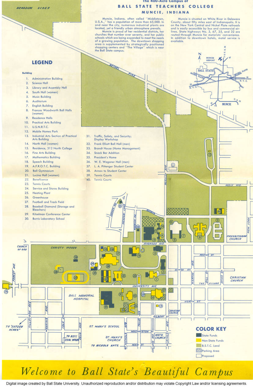 Ball State Campus Map Map   Ball State University Campus Maps   Ball State University