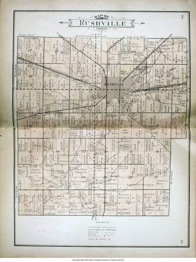 Map Of Rushville Township Rush County Indiana Indiana Historic