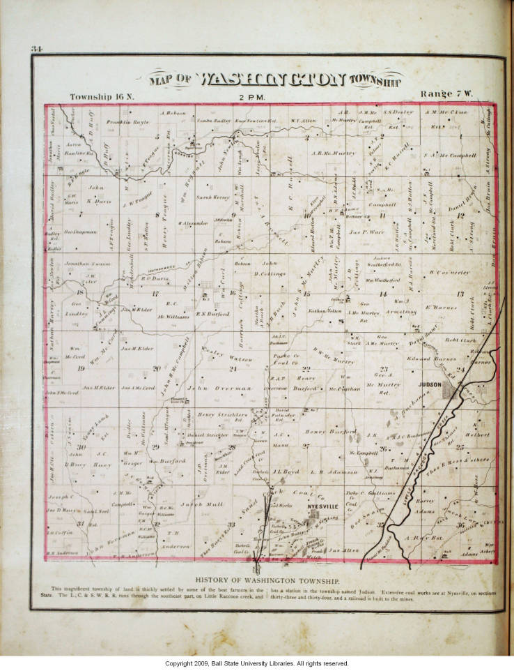 Map Of Washington Township Parke County Indiana Indiana