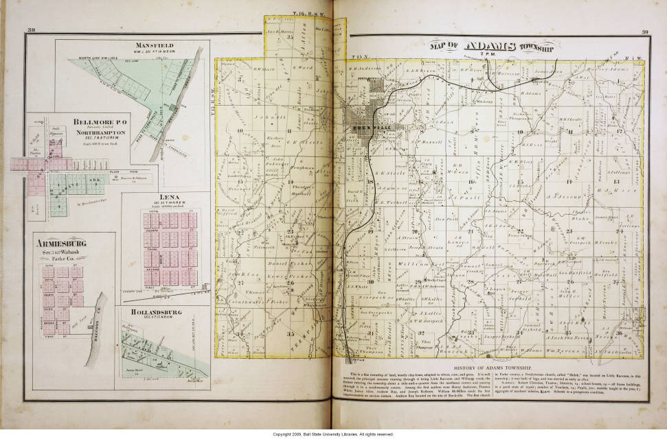Map Of Adams Township Parke County Indiana Including Mansfield