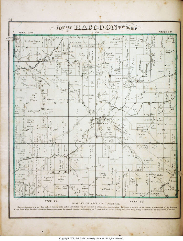 Map Of Raccoon Township Parke County Indiana Indiana Historic