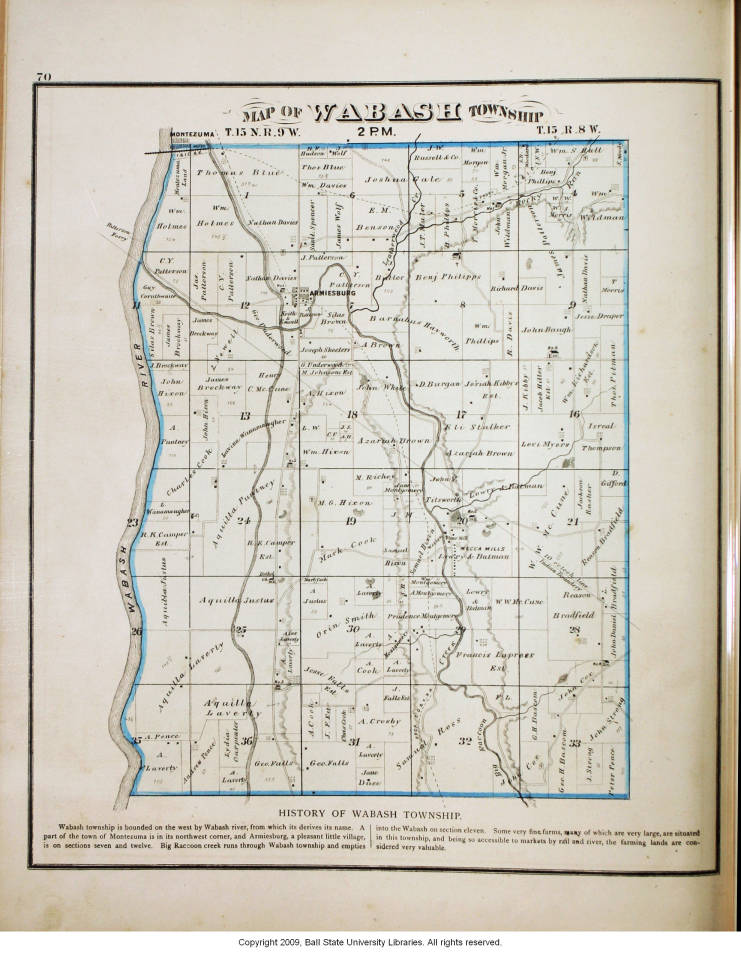 Map Of Wabash Township Parke County Indiana Indiana Historic