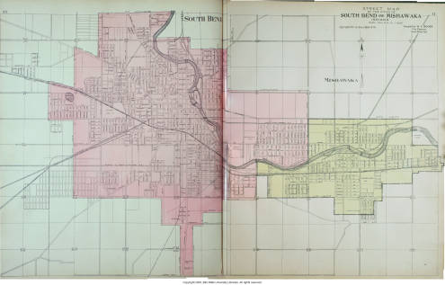 Street Map Of The Cities Of South Bend And Mishawaka Indiana