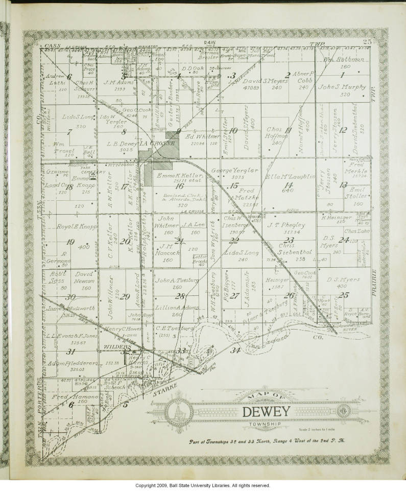 Map Of Dewey Township La Porte County Indiana Indiana Historic