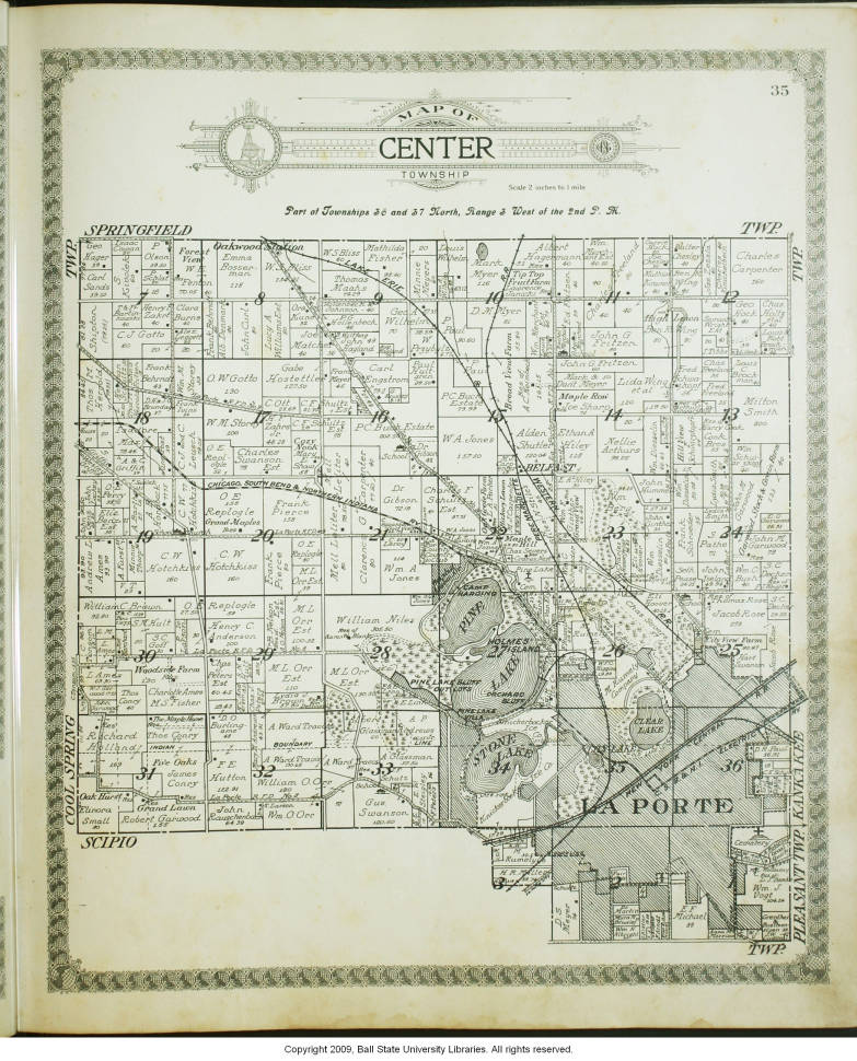 Map Of Center Township La Porte County Indiana Indiana Historic