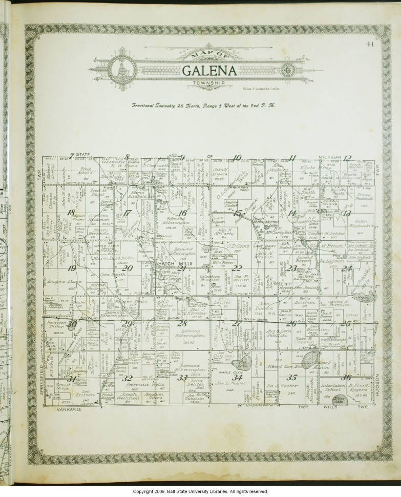 Map Of Galena Township La Porte County Indiana Indiana Historic