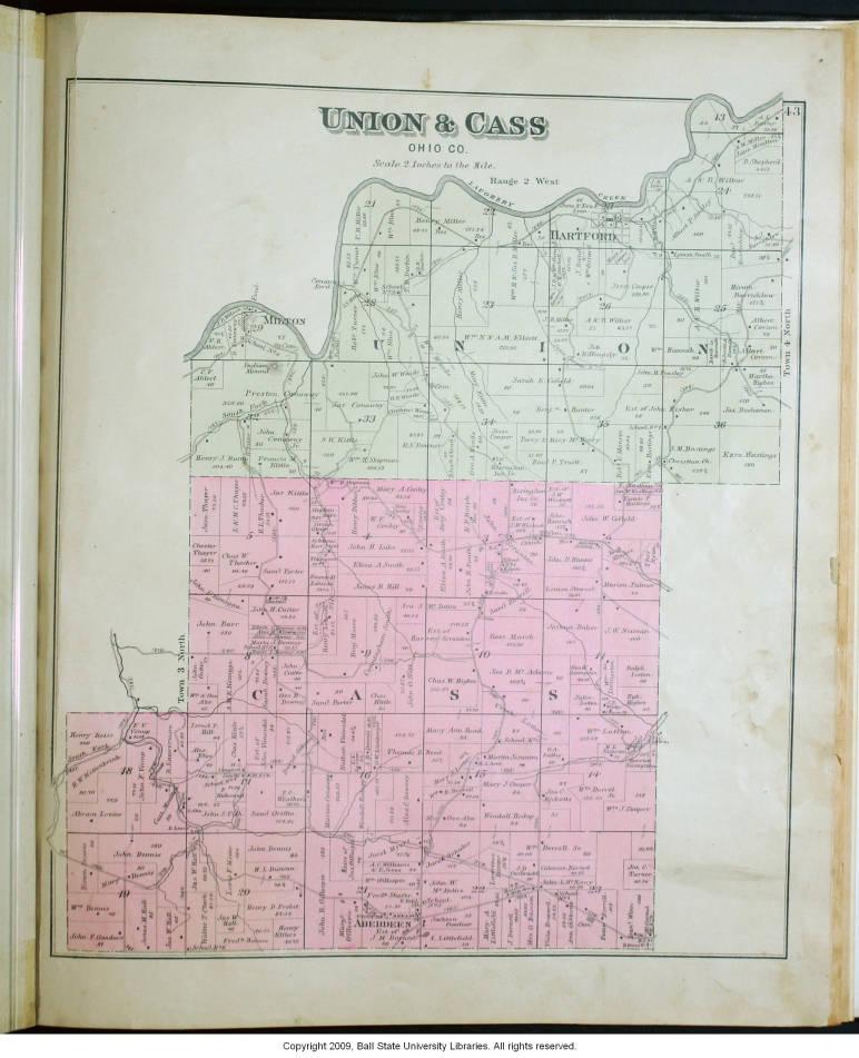 Map of Union and C Townships (Ohio County, Indiana) - Indiana ... Ohio Union Map on