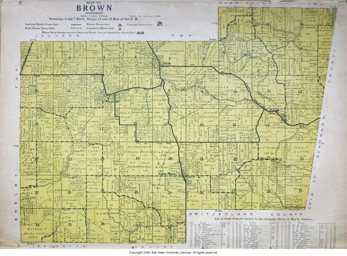 Map Of Brown Township Ripley County Indiana Indiana Historic