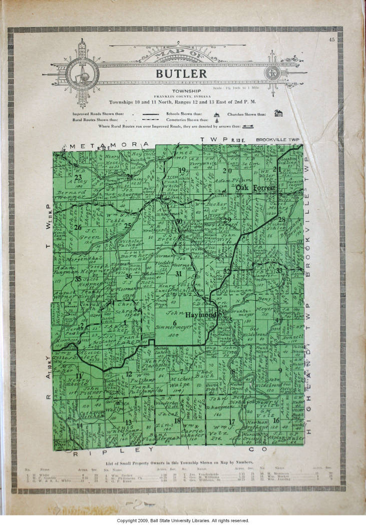 Map Of Butler Township Franklin County Indiana Indiana Historic