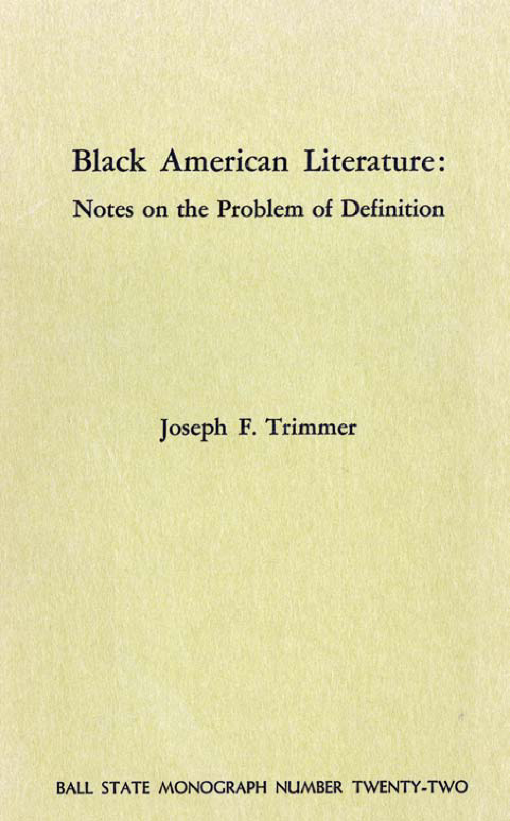 Black American literature: notes on the problem of