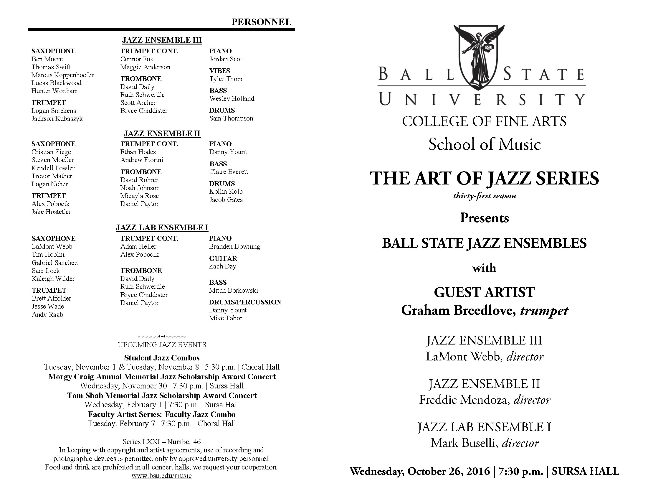 Page 1 - Ball State University School of Music Concert and