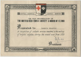 Certificate from the War Organisation of the British Red Cross Society & Order of St. John