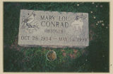 Burial marker for Mary Lou Conrad