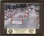 Ball State University cheerleaders and Charlie Cardinal marching in the 1999 Three Rivers Festival...
