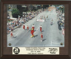 Ball State University cheerleaders and Charlie Cardinal marching in the 2000 Three Rivers Festival...