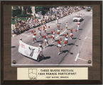 Ball State University cheerleaders marching in the 1994 Three Rivers Festival Parade