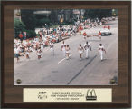 Ball State University cheerleaders and Charlie Cardinal marching in the 1996 Three Rivers Festival...