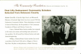 Community Foundation of Muncie and Delaware County postcards for Lilly Endowment Scholarship...