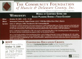 Community Foundation of Muncie and Delaware County postcards for seminars