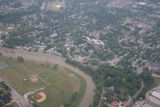 Muncie, Indiana Wheeling and Riverside Aves. aerial view