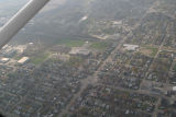 Muncie, Indiana Memorial Dr. and Walnut St. aerial view