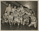 1954 Center School coach Mr. Chalfant and boys varsity basketball team