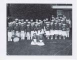 Center School elementary students rhythm band 1958 appearance at WLBC