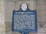 Dearborn County Courthouse, Lawrenceburg, Indiana - Dearborn County Bicentennial Committee sign in...