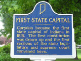 Harrison County Courthouse, Corydon, Indiana - Sign in front of courthouse