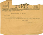 Telegram from Toney Flack to George Dale