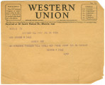 Telegram from George Dale to Mrs. George (Lena) Dale