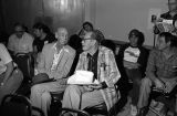 Hank Worden and Oliver Drake in film viewing room