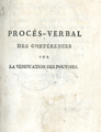 Procès-verbal des conférences … [Proceedings from the conferences on the verification of...