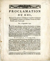 Proclamation du roi, concernant les opérations … [Proclamation of the king, concerning the...