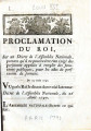 Proclamation du roi, sur un décret de l'Assemblée nationale. … [Proclamation of the king, on a...