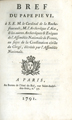 Bref du Pape Pie VI à S.E.M. … [Brief of Pope Pius VI to S.E.M. the Cardinal of Rochefoucault,...