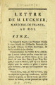 Lettre de M. Luckner, Maréchal de France, au Roi [Letter of Mr. Luckner, Marshal of France, to the...