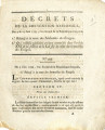 Décrets de la Convention nationale, des 3 & 13 juin 1793, L'an second de la République...