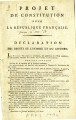 Projet de Constitution pour, la République Française [Rough Draft of the Constitution for the...