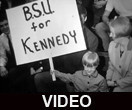 Crowd gathering for Robert F. Kennedy speech at Ball State University
