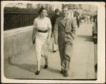 Leonard Haines walking with unidentified woman