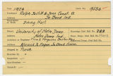 Contract card for Ralph Sollitt and Sons Construction Company (South Bend, Indiana)