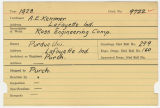 Contract card for A.E. Kemmer (Lafayette, Indiana)