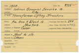 Contract card for Indiana General Service Company (Muncie, Indiana)