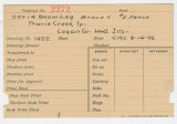 Contract card for Prairie Creek Township, Logan County, Illinois