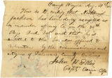Letter by Capt. John H. Ellis, regarding enlistment of Nathaniel Jackson