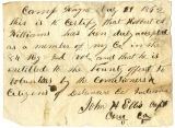 Letter by Capt. John H. Ellis, regarding enlistment of Robert A. Williams